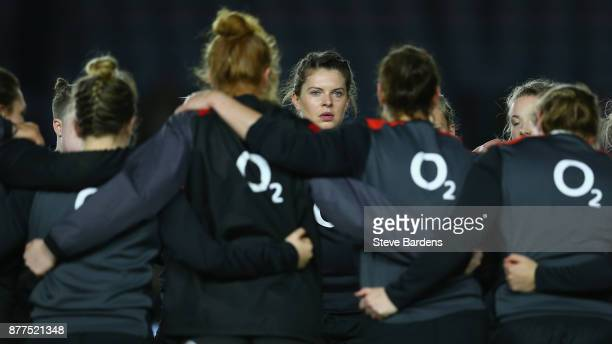 Abbie Scott of England Women during the warm up prior to the Old Mutual Wealth Series match between England Women and Canada Women at Twickenham...