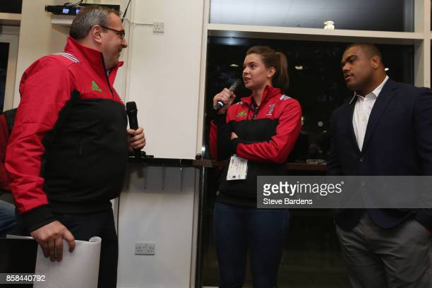 Abbie Scott of Harlequins Ladies and Kyle Sinckler of Harlequins are interviewed in the members bar during the Aviva Premiership match between...