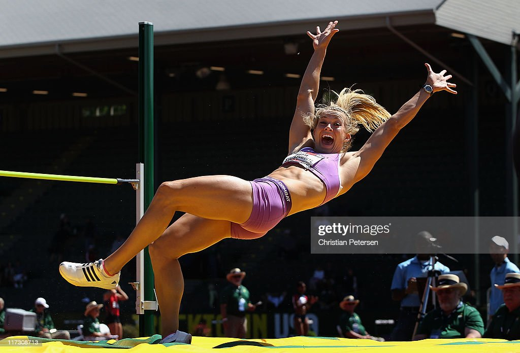 Abbie Stechschulte celebrates after clearing a personal best in the Women's high jump portion of the heptathlon on day three of the USA Outdoor Track & Field Championships at the Hayward Field on June 25, 2011 in Eugene, Oregon.
