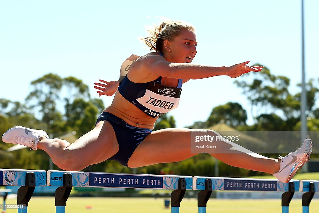 Abbie Taddeo of New South Wales competes in the Womens under 20 100 metre hurdle prelims during day one of the Australian Junior Championships at the WA Athletics Stadium on March 12, 2013 in Perth, Australia.
