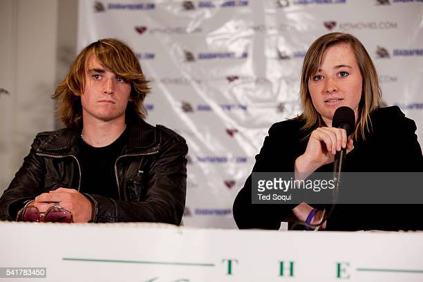 Abby and Zac Sunderland during a press conference in Marina Del Rey one day after Abby's return to the US Abby attempted to circumnavigate the world...