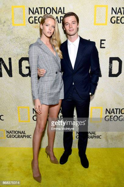 Abby Champion and Patrick Schwarzenegger attend the premiere of National Geographic's 'The Long Road Home' at Royce Hall on October 30 2017 in Los...