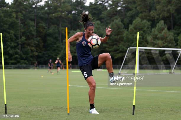 Abby Ercegduring a North Carolina Courage training session on July 27 at WakeMed Soccer Park Field 7 in Cary NC