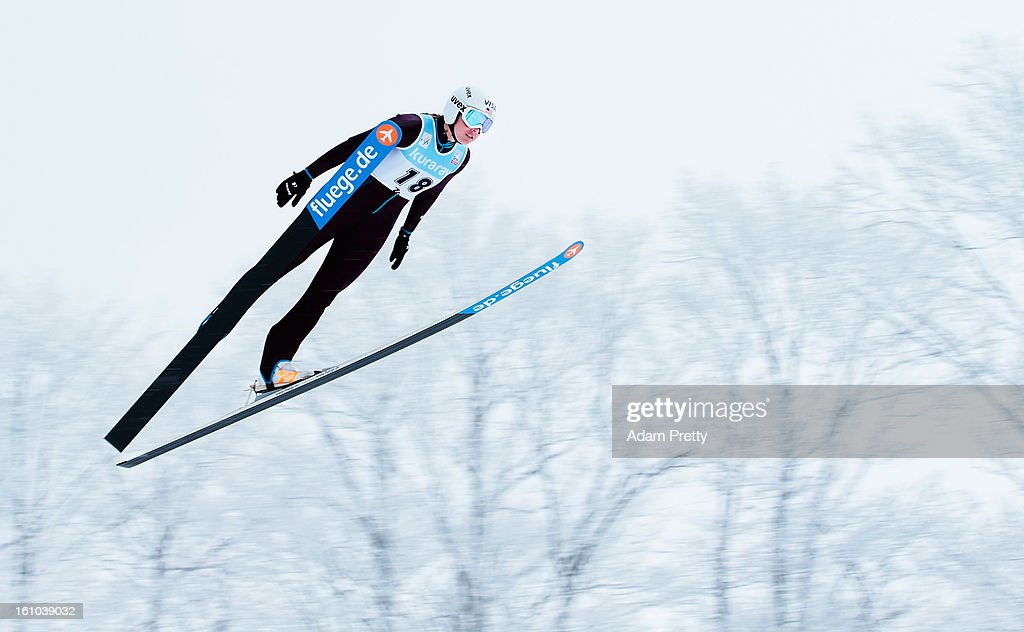 Abby Hughes of the USA jumps in the first round of competition during day one of the FIS Women's Ski Jumping World Cup at Zao Jump Stadium on February 9, 2013 in Yamagata, Japan.