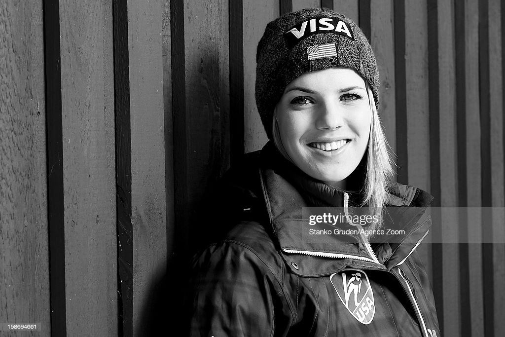 Image has been converted to black and white.) Abby Hughes of the USA Women's Ski Jumping Team poses on December 15, 2012 in Ramsau, Austria.