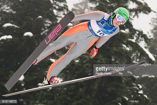 Abby Hughes of United States of America competes during Ljubno FIS Ski Jumping World Cup in Ljubno Slovenia Maja Vtic of Slovenia wins first...