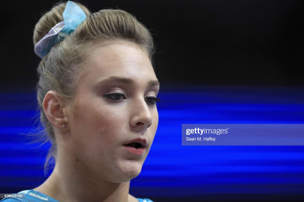 Abby Paulson looks on prior to competing in the Floor Exercise during the P&G Gymnastics Championships at Honda Center on August 20, 2017 in Anaheim, California.