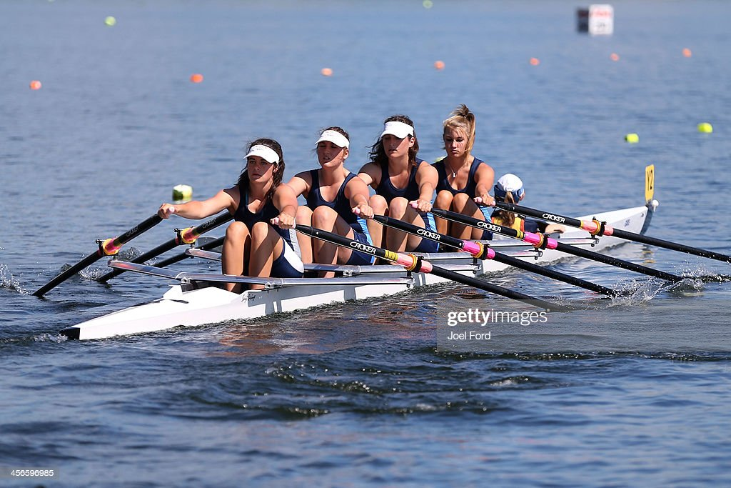 Abby Roberts, Lauren Dwan, Joanna Kleven Natala Pettit and cox Jessica Lawson of Cambridge Rowing Club compete in the girls U17 coxed quad final during the Christmas Regatta 1 at Lake Karapiro on December 15, 2013 in Cambridge, New Zealand.
