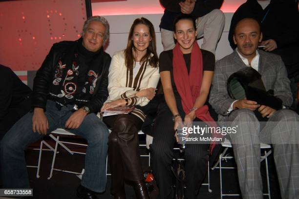 Abby Rosen Samantha Boardman Guest and Christian Louboutin attend the front row at Diane von Furstenberg Fashion Show at DVF Studios on February 8...