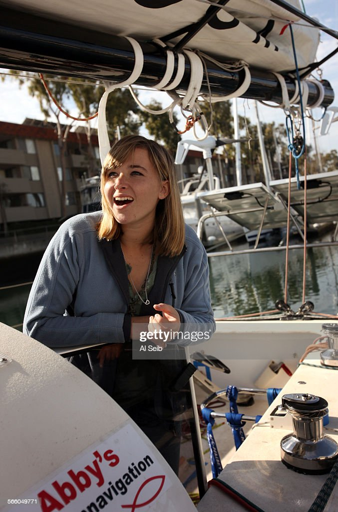 Abby Sunderland as she prepares her 40 foot sail boat 'Wild Eyes' in the harbor at Marina Del Rey before sea trials begin to get the ship tuned and...