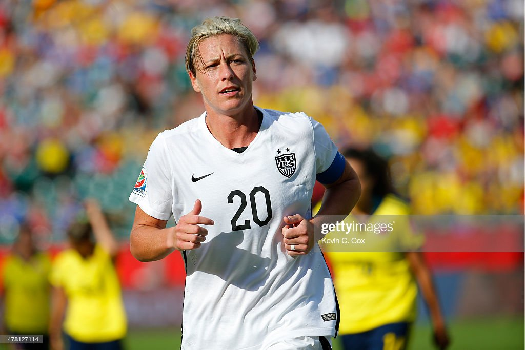 Abby Wambach #20 of the United StaAbby Wambach #20 looks on while taking on Colombia in the FIFA Women's World Cup 2015 Round of 16 match at Commonwealth Stadium on June 22, 2015 in Edmonton, Canada.