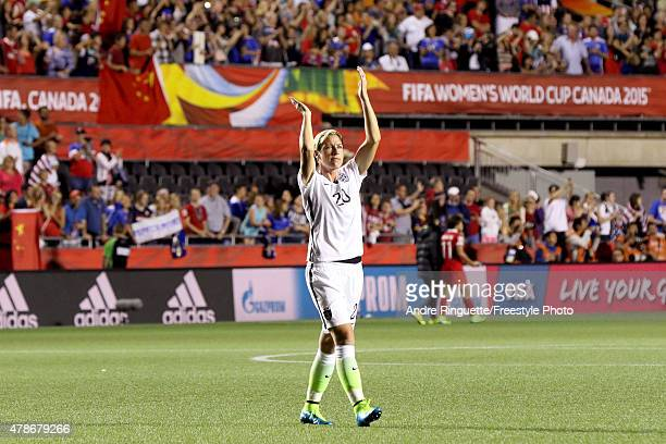 Abby Wambach of the United States acknowledges the crowd after defeating China 10 in the FIFA Women's World Cup 2015 Quarter Final match at Lansdowne...