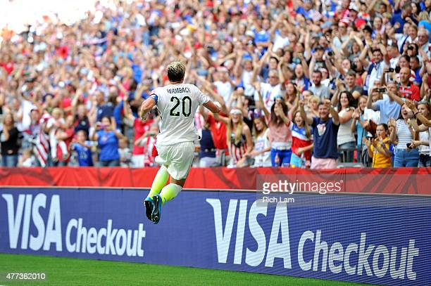 Abby Wambach of the United States celebrates scoring a goal in the first half against Nigeria in the Group D match of the FIFA Women's World Cup...