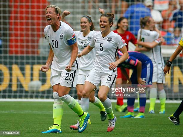 Abby Wambach of the United States celebrates the 52 victory against Japan in the FIFA Women's World Cup Canada 2015 Final at BC Place Stadium on July...