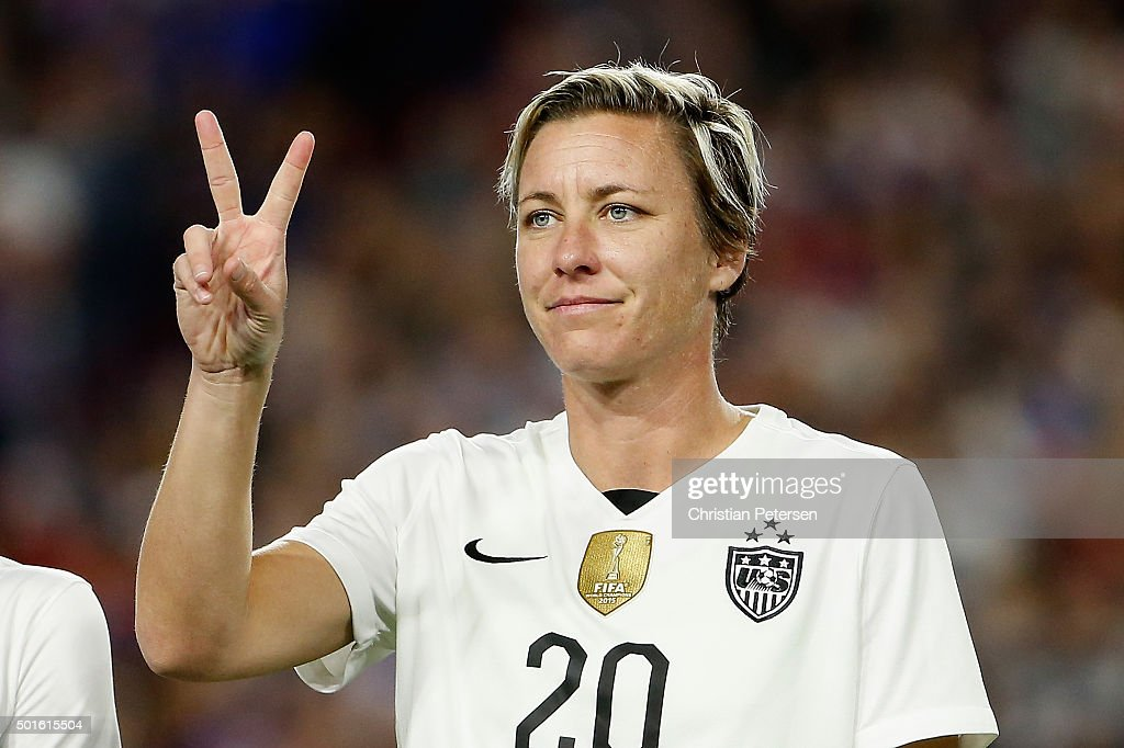 Abby Wambach #20 of the United States is introduced before the women's soccer match against China at University of Phoenix Stadium on December 13, 2015 in Glendale, Arizona. USA defeated China 2-0.