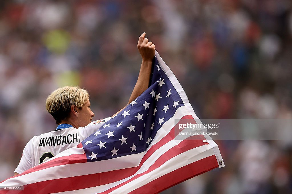 Abby Wambach #20 of the United States of America celebrates after their 5-2 win over Japan in the FIFA Women's World Cup Canada 2015 Final at BC Place Stadium on July 5, 2015 in Vancouver, Canada.