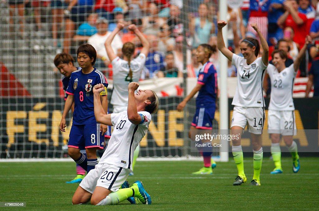 Abby Wambach of the United States of America celebrates as time expires in their 52 win over Japan in the FIFA Women's World Cup Canada 2015 Final at...