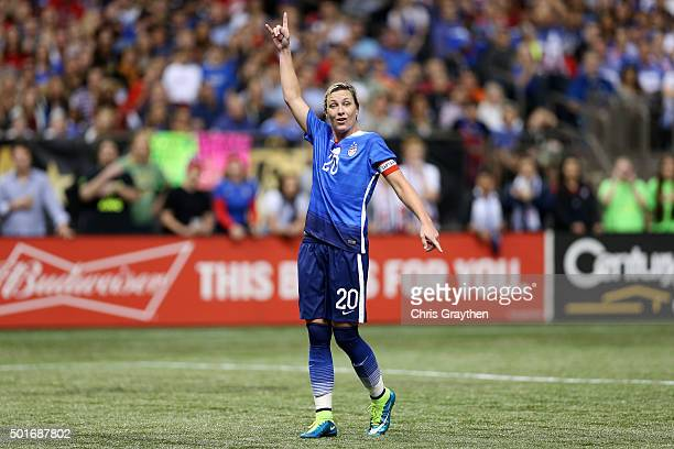 Abby Wambach of the United States reacts during the women's soccer match against China at the MercedesBenz Superdome on December 16 2015 in New...