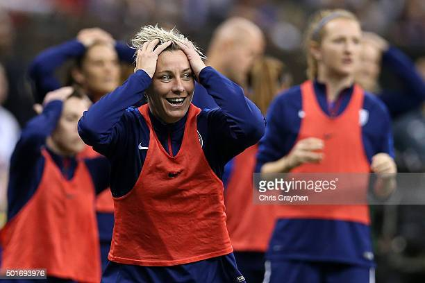 Abby Wambach of the United States reacts ro a missed shot during the women's soccer match against China at the MercedesBenz Superdome on December 16...