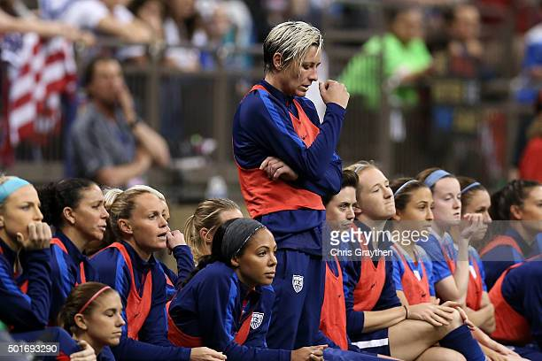 Abby Wambach of the United States stands in the bench area during the women's soccer match against China at the MercedesBenz Superdome on December 16...