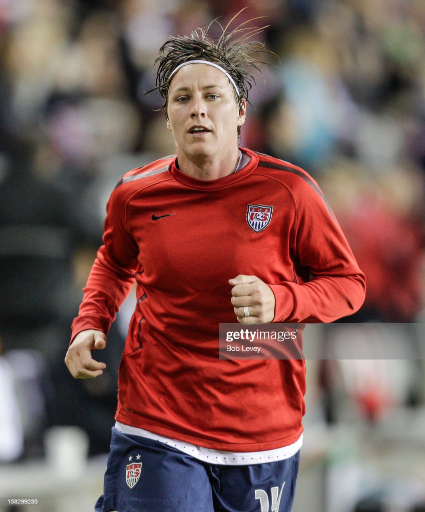 Abby Wambach (14) of the United States warms up before playing at BBVA Compass Stadium on December 12, 2012 in Houston, Texas. USA won 4-0.