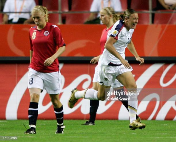 Abby Wambach of the USA celebrates her second goal during the Women's World Cup 2007 third place play off match between Norway and the USA at...