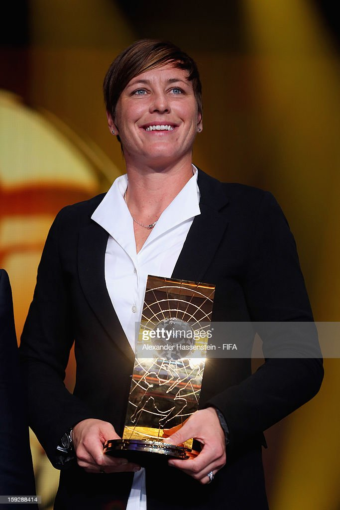 <a gi-track='captionPersonalityLinkClicked' href=/galleries/search?phrase=Abby+Wambach&family=editorial&specificpeople=162757 ng-click='$event.stopPropagation()'>Abby Wambach</a> of the USA holds her trophy after winning the FIFA Women's World Player of the Year award during the FIFA Ballon d'Or Gala 2012 at the Kongresshaus on January 7, 2013 in Zurich, Switzerland.