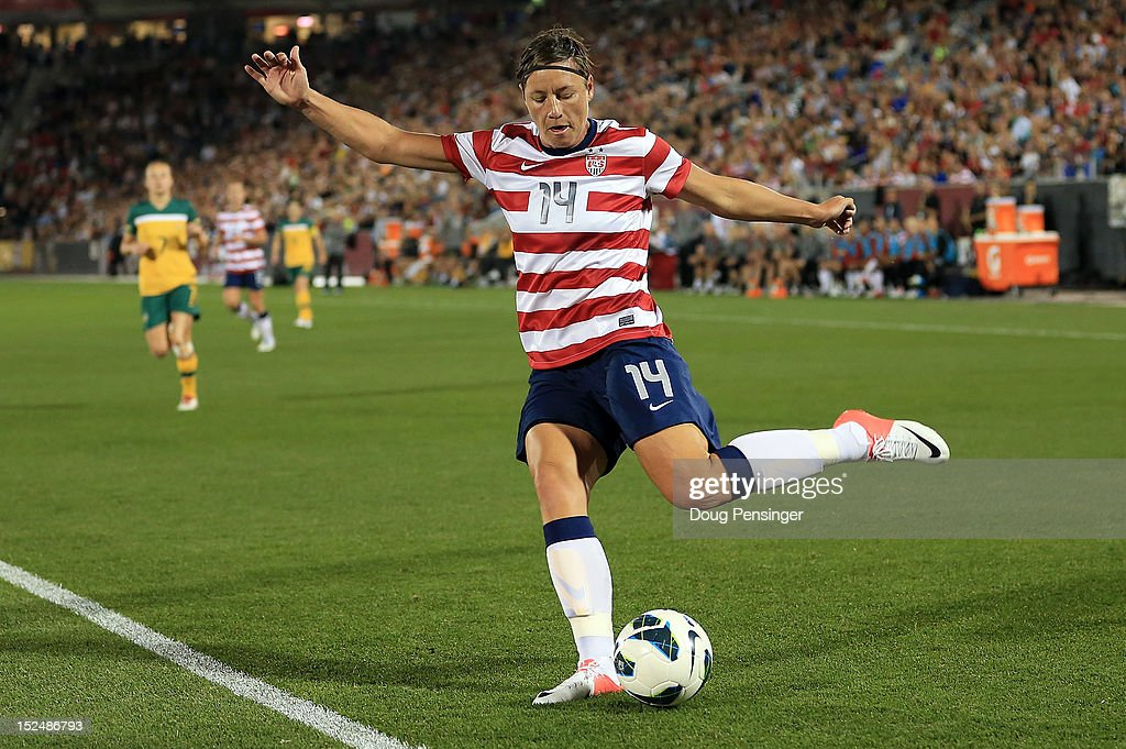 <a gi-track='captionPersonalityLinkClicked' href=/galleries/search?phrase=Abby+Wambach&family=editorial&specificpeople=162757 ng-click='$event.stopPropagation()'>Abby Wambach</a> #14 of the USA strikes the ball against Australia at Dick's Sporting Goods Park on September 19, 2012 in Commerce City, Colorado. The USA defeated Australia 6-2.