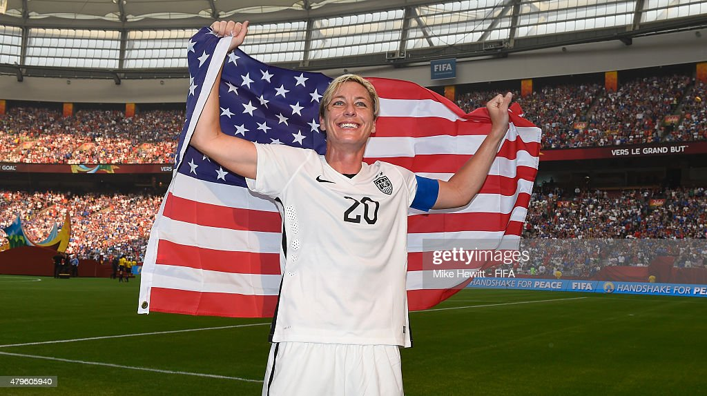 Abby Wambach of USA celebrates after FIFA Women's World Cup 2015 Final between USA and Japan at BC Place Stadium on July 5, 2015 in Vancouver, Canada.