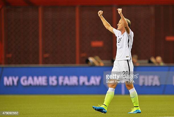 Abby Wambach of USA celebrates at the end of the FIFA Women's World Cup Semi Final match between USA and Germany at Olympic Stadium on June 30 2015...
