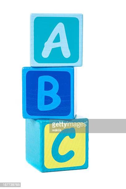 abc with building bricks