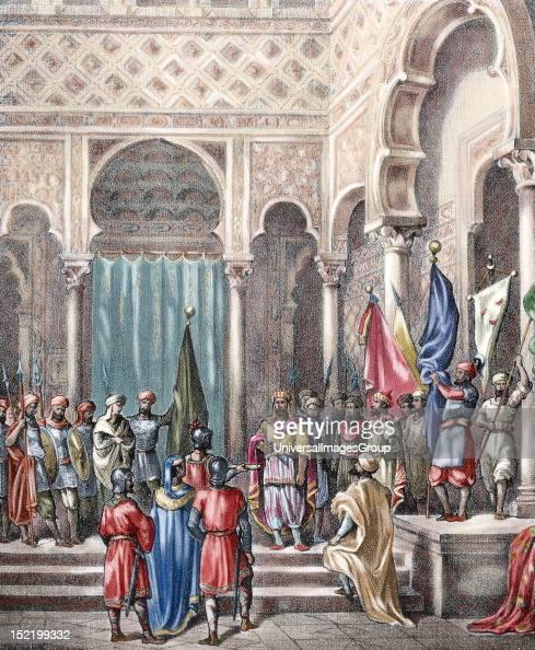 Abd arRahman II Umayyad Emir of Cordoba in the AlAndalus from 822 until his death Abd arRahman II receives the Basque ambassadors Spain Colored...