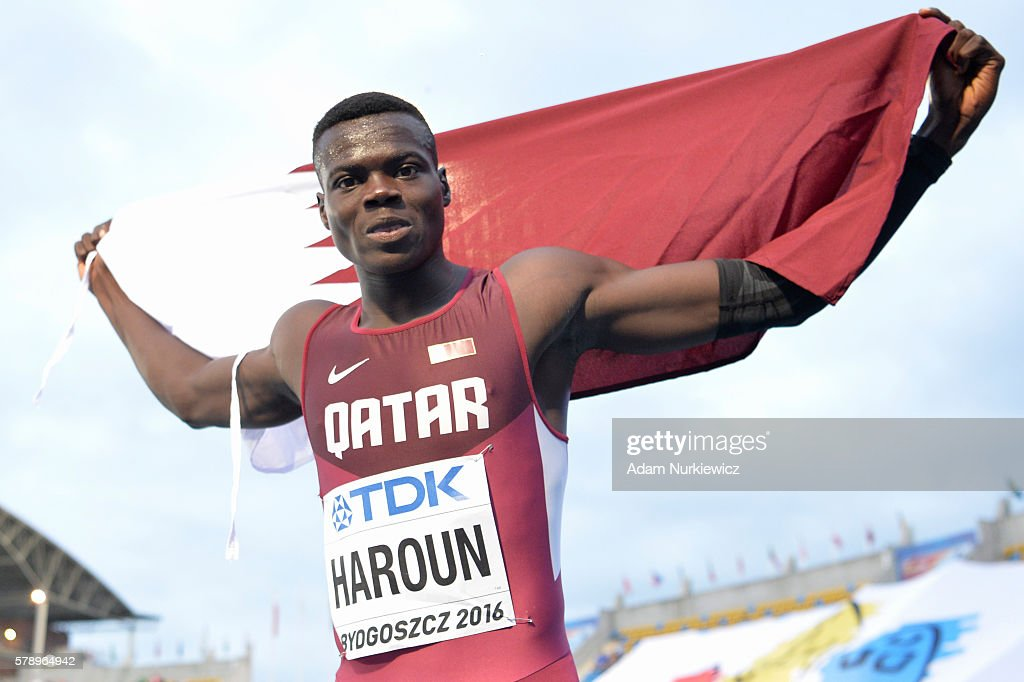 Abdalelah Haroun from Qatar celebrates winning a gold medal in men's 400 metres during the IAAF World U20 Championships at the Zawisza Stadium on July 22, 2016 in Bydgoszcz, Poland.