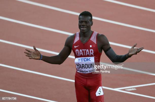 Abdalelah Haroun of Qatar bronze celebrates after the Men's 400 metres final during day five of the 16th IAAF World Athletics Championships London...