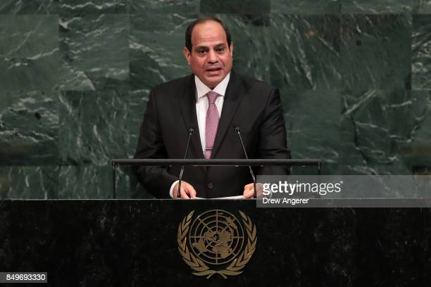 Abdel Fattah Al Sisi president of Egypt addresses the United Nations General Assembly at UN headquarters September 19 2017 in New York ity Among the...