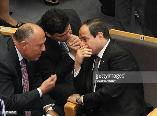 Abdel Fattah elSisi president of Egypt talk with Egyptian Ministry of Water Resources and Irrigation Hossam Moghazy and Foreign Minister of Egypt...