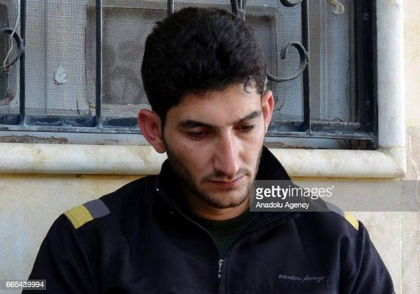 Abdel Hameed Alyousef speaks to press as he mourns over his wife and twin babies killed in the chemical attack by Assad Regime after being brought...