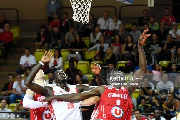 Abdel Kader Sylla of Monaco and Jerry Boutseile of Cholet during the Pro A match between Monaco and Cholet on October 14 2017 in Monaco Monaco