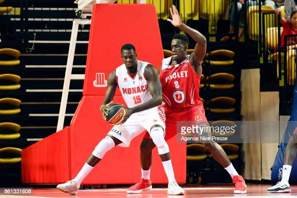 Abdel Kader Sylla of Monaco and Jerry Boutsiele of Cholet during the Pro A match between Monaco and Cholet on October 14 2017 in Monaco Monaco