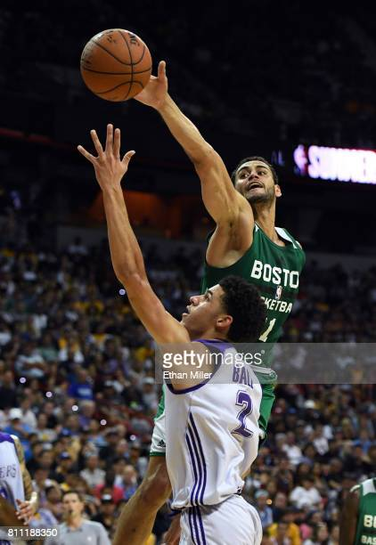 Abdel Nader of the Boston Celtics blocks a shot by Lonzo Ball of the Los Angeles Lakers during the 2017 Summer League at the Thomas Mack Center on...