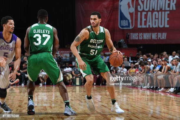 Abdel Nader of the Boston Celtics dribbles against the Los Angeles Lakers during the 2017 Las Vegas Summer League on July 8 2017 at the Thomas Mack...