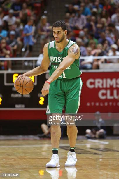 Abdel Nader of the Boston Celtics dribbles against the Utah Jazz during the 2017 Utah Summer League on July 6 2017 at Jon M Huntsman Center in Salt...