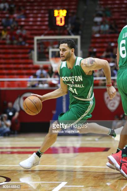 Abdel Nader of the Boston Celtics dribbles the ball against the San Antonio Spurs on July 5 2017 at Jon M Huntsman Center in Salt Lake City Utah NOTE...