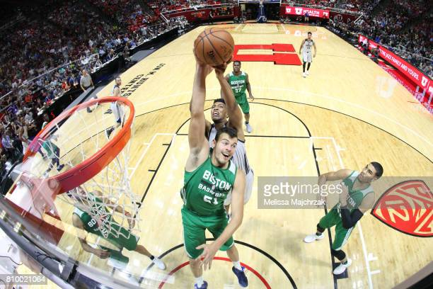 Abdel Nader of the Boston Celtics grabs the rebound against the Utah Jazz during the 2017 Utah Summer League on July 6 2017 at Jon M Huntsman Center...