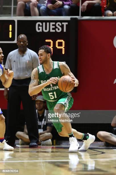 Abdel Nader of the Boston Celtics handles the ball against the Philadelphia 76ers on July 3 2017 at Jon M Huntsman Center in Salt Lake City Utah NOTE...