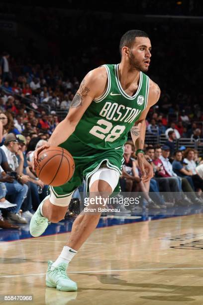 Abdel Nader of the Boston Celtics handles the ball against the Philadelphia 76ers on October 6 2017 in Philadelphia Pennsylvania at the Wells Fargo...