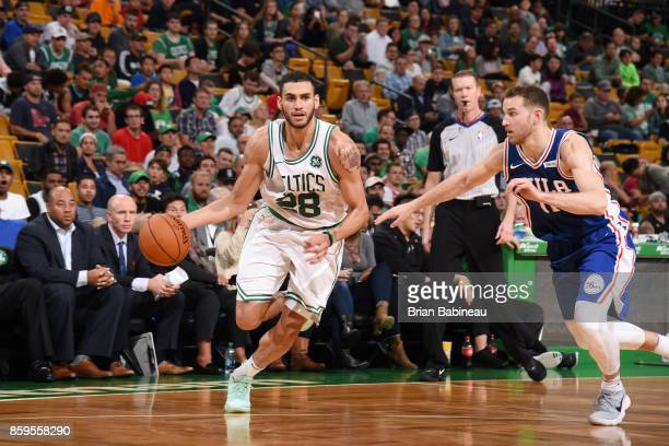 Abdel Nader of the Boston Celtics handles the ball against the Philadelphia 76ers during the preseason game on October 9 2017 at the TD Garden in...