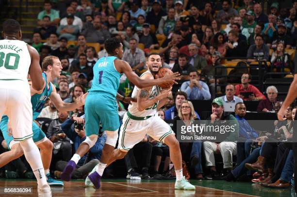Abdel Nader of the Boston Celtics handles the ball against the Charlotte Hornets during a preseason game on October 2 2017 at the TD Garden in Boston...