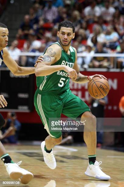 Abdel Nader of the Boston Celtics handles the ball against the Utah Jazz during the 2017 Utah Summer League on July 6 2017 at Jon M Huntsman Center...