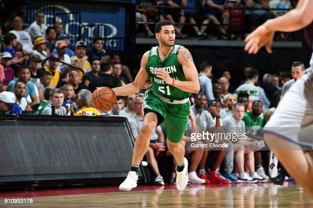 Abdel Nader of the Boston Celtics handles the ball during the game against the Los Angeles Lakers during the 2017 Las Vegas Summer League on July 8...